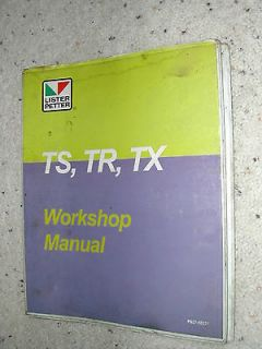 Lister Petter TS, TR, TX DIESEL ENGINE SERVICE SHOP REPAIR MANUAL