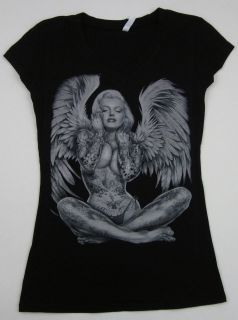 MARILYN MONROE V Neck T shirt Pierced Tattoo Angel Wings Tee Womens