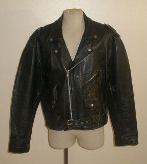 vintage black leather motorcycle biker punk jacket mens 48