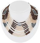 Necklace Beaded Faux Pearl Blue Brown White Multi Strand Statement