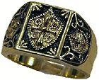 18kt gold gp masonic templar knight ring size 9 14