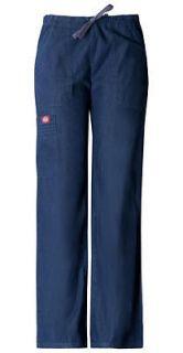 Pintuck Pocket Pant in Indigo Blue Denim Scrub Pants 84001 INBZ