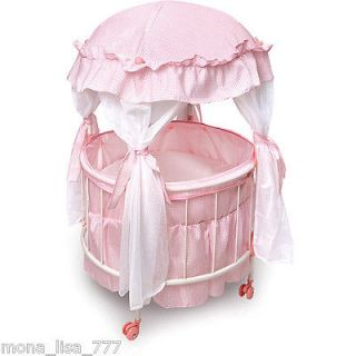 ROUND DOMED CANOPY BABY DOLL CRIB W/ PINK BEDDING & DRAPES GIRLS TOY