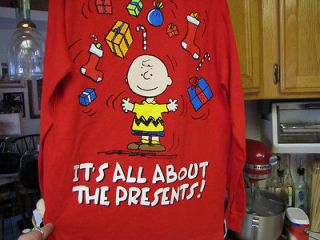 SNOOPY X MAS SHIRT 4 KIDS CHARLIE BROWN ITS ALL ABOUT THE PRESENTS