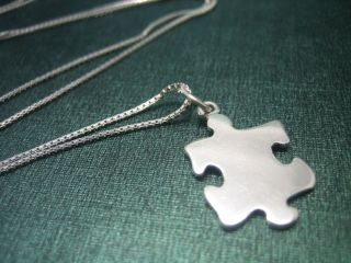 925 Sterling Silver JIGSAW PUZZLE PIECE Charm Necklace with 1mm Box
