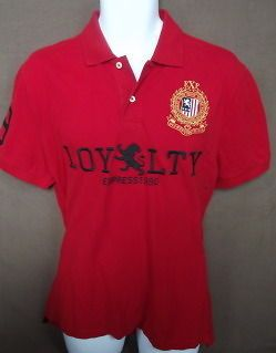 RED & BLACK POLO SHIRT (large black lion) New York Flag LOYALTY