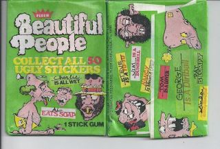 1978 FLEER BEAUTIFUL PEOPLE UNOPENED UGLY STICKER PACK FROM BOX RARE