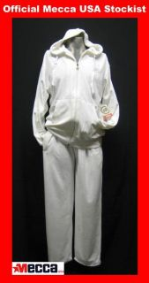 mecca usa velour hooded tracksuit white 2xl xxl
