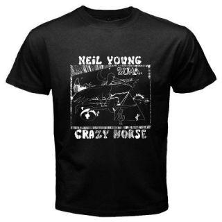 New Neil Young Crazy Horse Zuma Rock Music Black T Shirt Size S M L XL