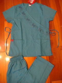 Top Cargo Pant Medical Uniform Nursing Scrubs Set Teal XS   2XL