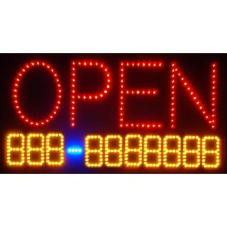 OPEN Phone Number Led Light Business Sign Window Animated Motion Neon