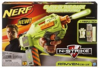 NIP NERF RAYVEN CS 18 N STRIKE Glow in the Da​rk Semi Auto Blasting