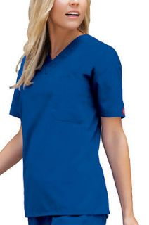 NWT Dickies Medical Uniforms 810106 Unisex V Neck Royal Blue Scrub Top