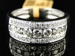 10k new mens white gold round cut diamond ring wedding