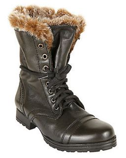 STEVE MADDEN TUNDRAA BLACK LEATHER FAUX FUR MILITARY COMBAT BOOTS 9.5