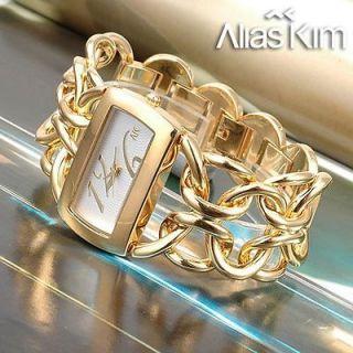 18K Gold Plated band lady girl analog bracelet quartz wrist watch +box