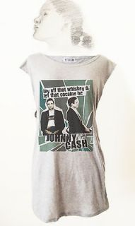 RETRO ROCKER JOHNNY CASH ROCK ROLL GRAY T SHIRT TANK TOP TUNIC Vintage
