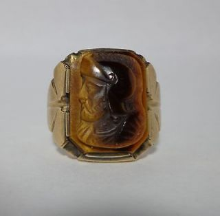 estate piece 10k yellow gold gents carved tigers eye ring