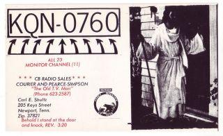 QSL CB Radio Card Tennessee TN Newport Jesus Knocking at Door Carl
