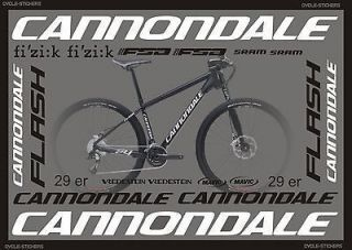 CANNONDALE FLASH 29 ER 2012 bike stickers decals graphics cannondale