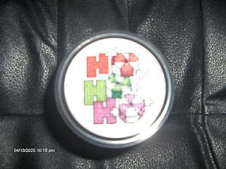 COMPLETED CROSS STITCH CHRISTMAS JAR HO HO HO PEPPERMINT CANDY MASON
