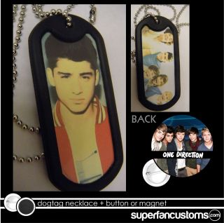 Zayn Malik DOGTAG NECKLACE + BUTTON or MAGNET pin one direction badge