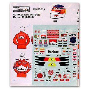 Decal 1/24 Michael Schumacher Ferrari F1 Helmet Figure Fujimi Tamiya