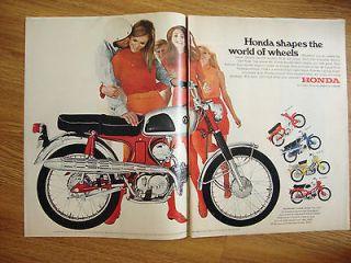 1967 Honda Motorcycles Ad Shows 5 Models Honda 90 Sport 50 Trail 90
