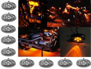 AMBER LED CHROME MODULE MOTORCYCLE CHOPPER FRAME NEON GLOW LIGHTS PODS