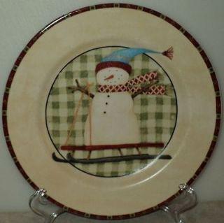 NORTH COUNTRY SNOWMEN PLATE Zak Designs Debbie Mumm Snowman Sled Salad