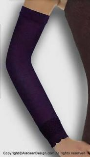Muslim clothing Classic Poly Deep Purple Arm Sleeve Covers w/Lace trim