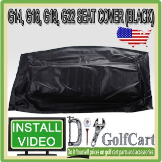 , G16, G19, G22 Golf Cart Seat Bottom Cover   OEM Replacement   Black