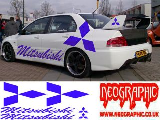 mitsubishi evo universal kit graphic decals stickers x 6 lancer