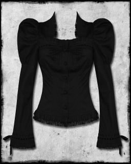 SPIN DOCTOR BLACK STEAMPUNK GOTH VTG VICTORIAN STYLE CARDINAL BLOUSE