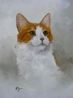 original oil painting portrait of a turkish van cat by j payne time