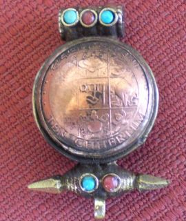 Old Copper and Brass Tibetan Amulet (or Ghau) with Mantra Letters