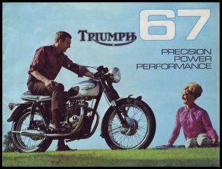 1967 RIUMPH MOORCYCLE USA BROCHURE BOOK 120  R6 100 BONNEVILLE