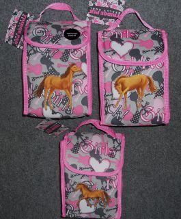 Girls HORSE Lunch Bag/Sack~Pink ​Gray~Guitars & Hearts~NWT~Lar​ger