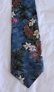 Tropicals By Tango Neck Tie Silk Pink Flamingo Palm Tree Hibiscus Blue