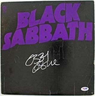 OZZY OSBOURNE BLACK SABBATH SIGNED ALBUM COVER W/ VINYL PSA/DNA #