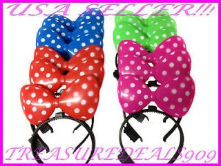 MINNIE MICKEY MOUSE EARS LIGHT UP HEADBANDS MULTI COLOR PARTY FAVORS