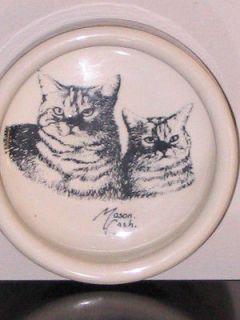 Stoneware Pet Cats Brown & Bone Tabby Cat Kitten Bowl by Mason. Cash.