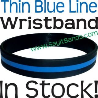Thin Blue Line Wristband   Silicone Band Adult Child Sizes   Heroes