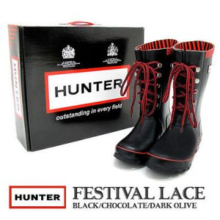 Wellington Hunter Rain Boot Festival Lace Black Red 5 M 6 F 37 EU