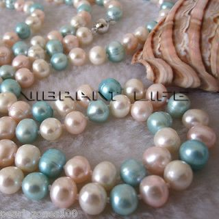 48 8 9mm Multicolor Freshwater Pearl Necklace White Blue Pink