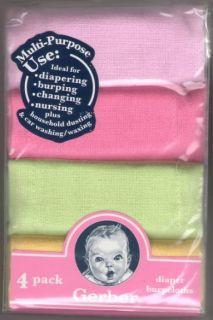 nip cotton gerber 4 pack diaper burp cloth girl colors