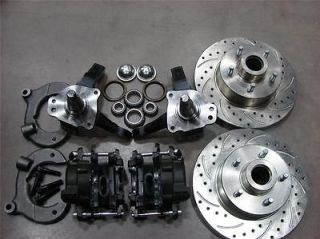 MUSTANG II FRONT 11 DRILLED CHEVY ROTOR DISC BRAKE STOCK SPINDLE FREE