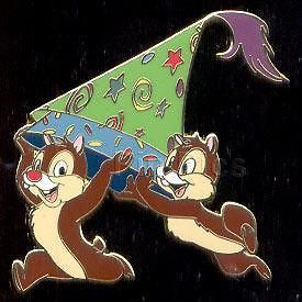 CHIP and DALE running with Party Hat Disney Land PARIS DLRP DLP LE PIN