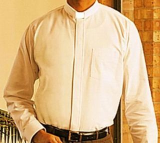 Mens Clergy Clerical Minister Pastor Tab Collar Clergy Shirt Ivory