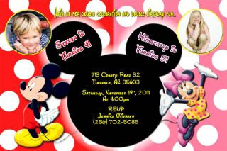 Mickey Minnie Mouse Custom Birthday Party Photo Invitations More